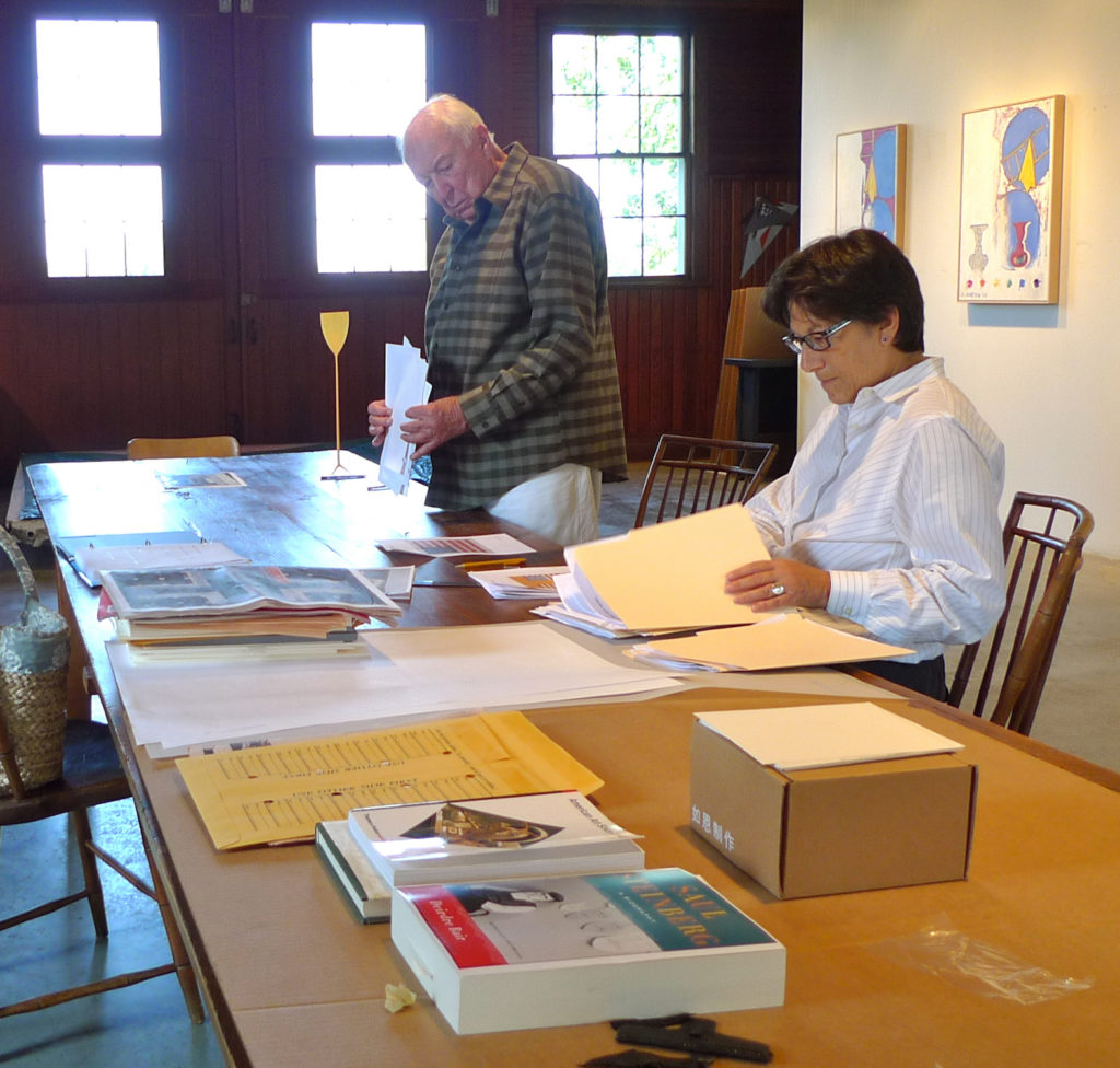 Roberta Bernstein and Jasper Johns working in his studio in Sharon, Connecticut