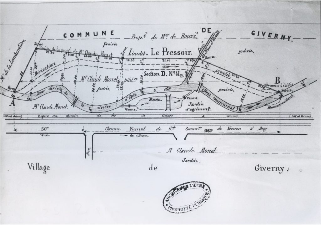 Fig 1. Map of Giverny showing Monet's property, Archives de l'Eure