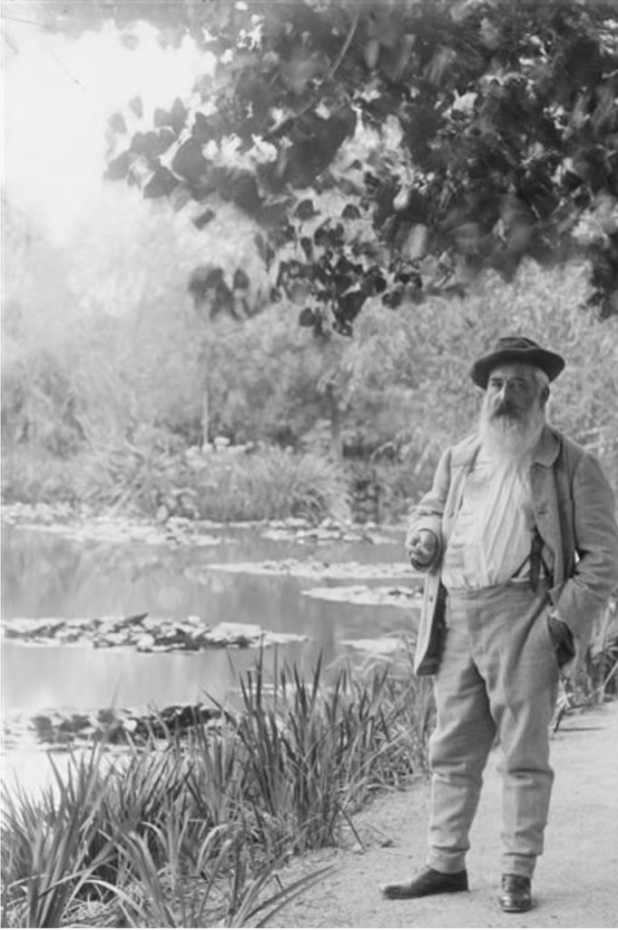 Fig. 3: Claude Monet in front of his water lily pond in Giverny, photograph by Jacques-Ernest Bulloz, 1905.