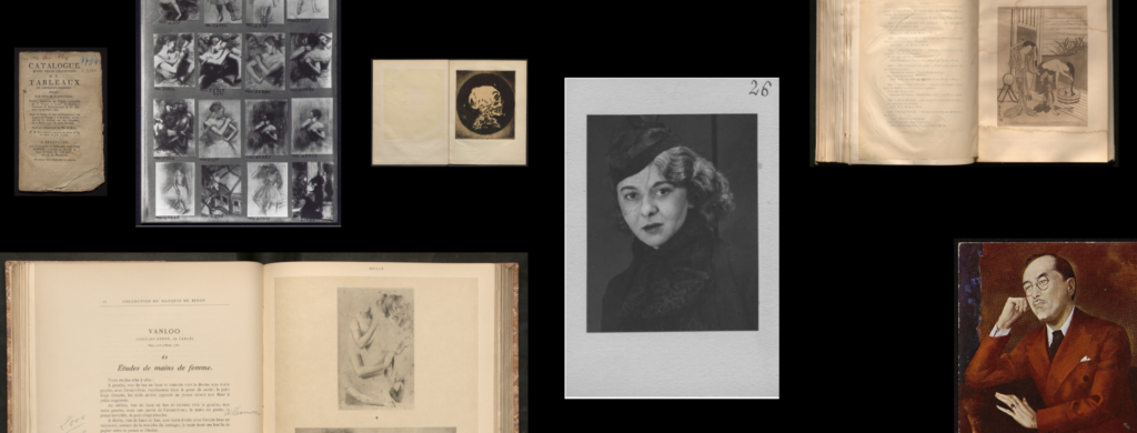 Materials from the WPI Digital Archives, from top left, clockwise: Cover of a sales Catalogue; Vizzavona plate with photos of Cézanne's paintings; Paul Ferdinand Gachet and Paul Louis Gachet Papers, Frontispiece for Le Passé; Photothèque, Portfolio of Models, Mlle Fages; Sales Catalogue; Paul Ferdinand Gachet and Paul Louis Gachet Papers, Letter from Micao Kono to Paul Louis Gachet; Sales Catalogue.