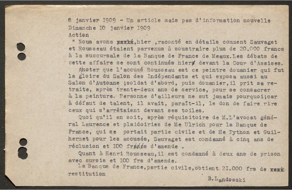 Rousseau's trial: 1909